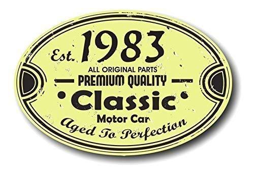 Desgastado Antiguo Fundada en 1983 Años Aged To Perfection Clásico Ovalado Motivo para Vintage Clásico Automóvil Retro Vinilo Pegatina Adhesivo para Coche 120x80mm Aprox.