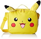 Pokemon Nintendo Plush Pikachu Insulated 3D Plush Ear Soft Portable Travel Zipper Lunch Bag Tote with Adjustable Strap, 10 x 8 x 3 Inches, Yellow