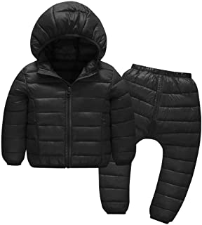 AIEOE Baby Down Jacket Trousers Windproof Hoodie Puffer Pants Set Padded Snowsuit