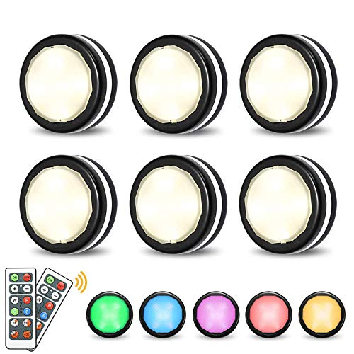 Under Cabinet Lights Elfeland RGB Wireless LED Puck Lights Closet Lights 4000K Dimmable Battery Powered Remote Control Atmosphere Night Light Ideal for Cupboard Kitchen Wardrobe Color Changing(6 Pack)