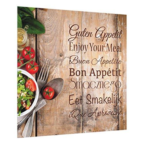 Bilderwelten Crédence en Verre - Good Appetite - Carré 1:1, Peinture Murale revetement Mural Cuisine dosseret de Cuisine Impression sur Verre Fond de Cuisine, Dimension: 59cm x 60cm