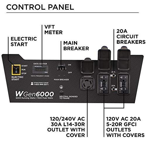 Westinghouse WGen6000 Portable Generator 6000 Rated & 7500 Peak Watts, Gas Powered, Electric Start,...