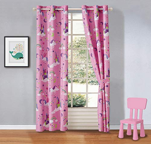 Kids zone Home Linen 2 Panel Curtain Set with Grommet for Boys Girls Teens Bedroom Multicolor Set (Unicorn Rainbow Castle Clouds Pink Purple White)