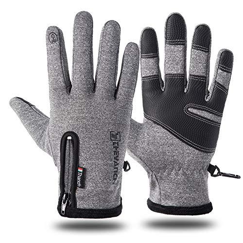 Touchscreen Handschoenen Warme Winter Handschoenen Outdoor Thermische Handschoenen Winddicht Handschoenen voor Mannen Vrouwen Hardlopen Klimmen Skiën Fietsen Rijden Wandelen (Grijs, XXL China maat)