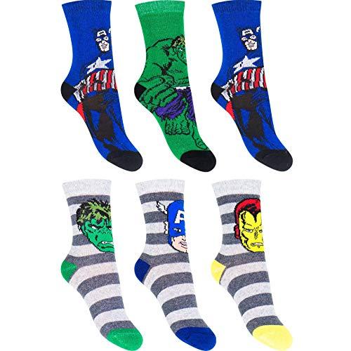 6 Paar Avengers Jungen Socken | Kinder Marvel Strümpfe 23-26 / mehrfarbig