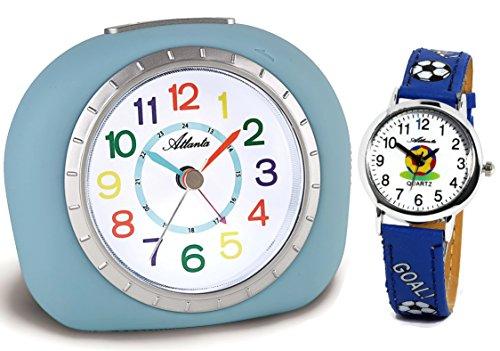 Niños Despertador sin Tic TAC con Reloj de Pulsera Infantil Azul–Atlanta 1966–5Kau