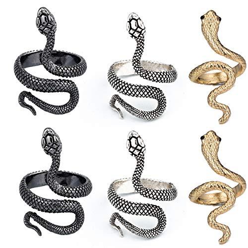 Anillo Serpiente,Yueser 6 piezas Anillo de Joyería Vintage en Forma de Abierto Ajustable para Mujeres Niña Hombres Dedos Accesorios de Joyería (3 Colores)