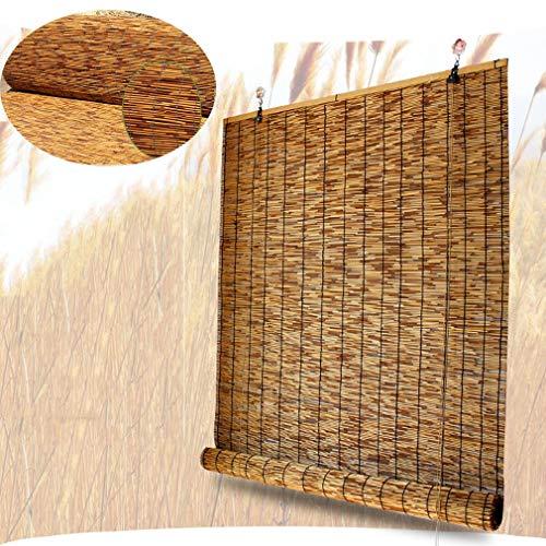 Retro Schilf Vorhang Carbonization Strohjalousien Lifting Bambusrollo,Natürlich Handgewebt Sichtschutz Trennwand Rollladen Sonnenschirm,Wasserdicht,Atmungsaktiv,Schatten,Anpassbar(140x260cm/55x102in)