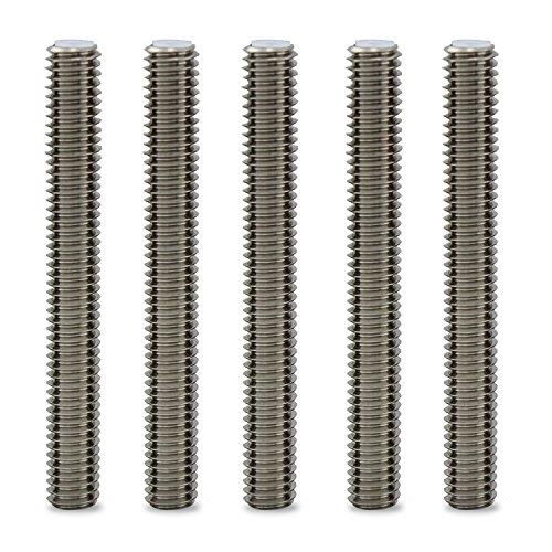 WheateFull 5 Pezzi Barrel acciaio inox M6x50MM ugello gola con PTFE Tubo stampante 3D estrusore Accessorio per 1,75 millimetri Filament estrusore Hot End