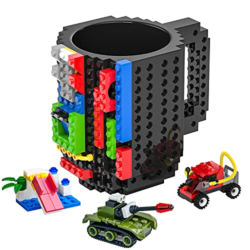 DAYMOO Build-On Brick Mug with Handle,with 3 Packs of Blocks at Random,Creative DIY Building Blocks Cup,Novelty Coffee Mugs Compatible with Lego,Birthday Party Cups for Kids,Black