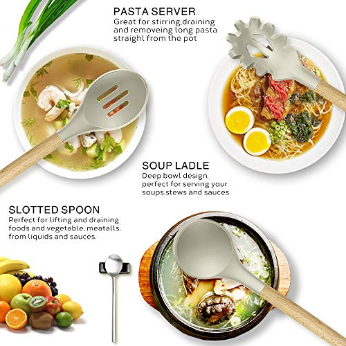 14 Pcs Silicone Cooking Utensils Kitchen Utensil Set, 446°F Heat Resistant,Turner Tongs,Spatula,Spoon,Brush,Whisk. Wooden Handles Khaki Kitchen Gadgets Tools Set for Non-stick Cookware (BPA Free)