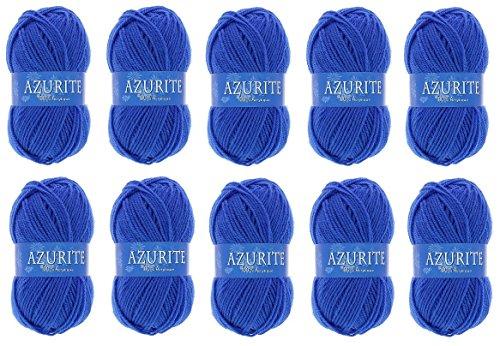 Lot 10 Pelote de laine Azurite 100% Acrylique Tricot Crochet Tricoter - Bleu - 1338