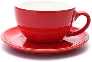 فنجان مع صحن من كوفي زون بـ 3 احجام لمختلف انواع المشروبات مثل اللاتيه والكابتشينو للمقهى والباريستا