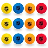 Franklin Sports Knee Hockey Balls - Indoor Mini Foam Hockey Balls for Kids - 12 Soft Foam Hockey Balls - Assorted Colors - Drawstring Bag