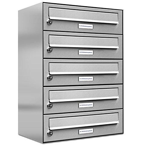 AL Briefkastensysteme 5er Briefkastenanlage Edelstahl, Premium Briefkasten DIN A4, 5 Fach Postkasten modern Aufputz