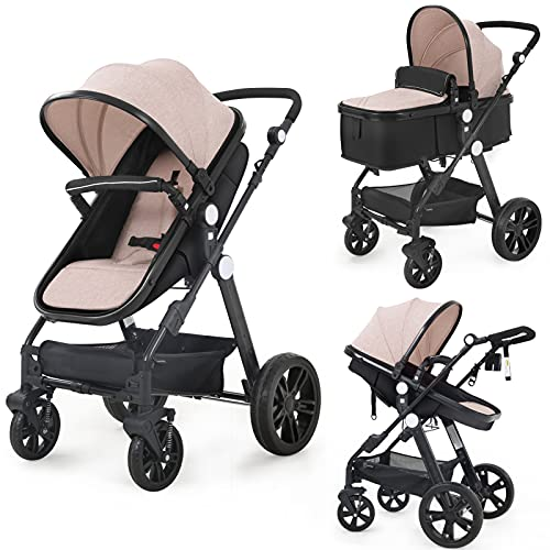 Newborn Infant Toddler Baby Stroller - Sleeping & Sitting Mode 2 in 1 All Terrain High Landscape Shock Absorption Sunshade Comfortable Baby Car for 0-36 Months Old Babies (Beige)