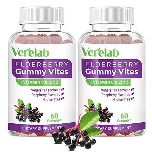 Elderberry Gummies with Zinc & Vitamin C for Adults Kids, Black Sambucus Elderberry Extract Supplements for Immune Booster, Alternative to Capsules Syrup Pills Tea (2 Pack)