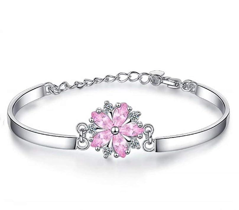 ネズミオーストラリア人鮮やかな七里の香 サクラブレスレットレディース フラワー 桜の花 ピンク腕輪 バングル 花びら ギフト 長さ調整可