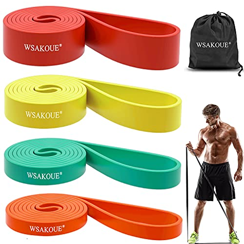 WSAKOUE Pull Up Bands, Resistance Bands, Pull Up Assist Band Exercise Resistance Bands for Body Stretching, Powerlifting, Resistance Training (Set-4)