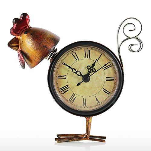 Kedelak Sculpture,Kükenuhr Handgemachte Vintage Metall Küken Figur Stumm Tischuhr Praktische Uhr Eine AA-Batterie