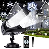LUOWAN Lampada di Natale Proiettore LED, Proiettore di Luci Natalizie con Fiocchi di Neve con Telecomando, Luci Natale Impermeabili IP65 con Funzione di Temporizzazione, per Natale, Festa, Giardino