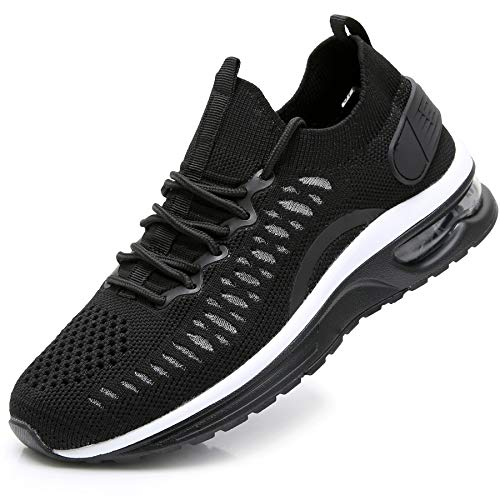 JARLIF Women's Sock Slip on Sneakers Lightweight Walking Fitness Sport Gym Athletic Air Running Tennis Shoes Black 6.5 B(M) US