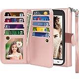 Njjex for Galaxy Sky Wallet Case, for Samsung Galaxy Amp Prime/Express Prime/Sol/ J3 /J3 V Case, PU Leather Flip [9 Card Slot] Kickstand Detachable Magnetic Phone Case Cover & Wrist Strap [Rosegold]
