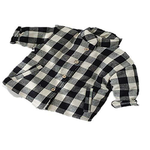 Abrigo grueso de felpa coreana para bebé de invierno y algodón grueso a cuadros blanco y negro 80 cm