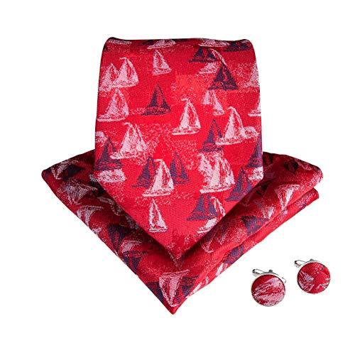 WOXHY Cravate Homme Cravates Ensemble Soie Fabriqué À La Main Style Classique Rouge Motif Floral Cravates Boutons De Manchette Hanky Ensemble pour La Fête De Mariage