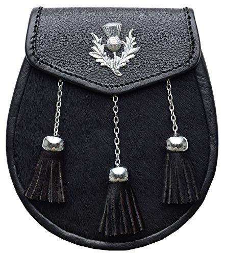 Schottischer Sporran Schwarz Highland Diestel Leder mit 3 Fransen