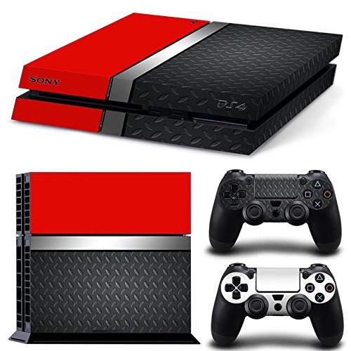 46 North Design Ps4 Playstation 4 Pegatinas De La Consola Red Silver Metal + 2 Pegatinas Del Controlador
