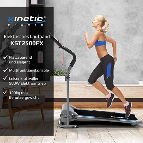 Kinetic Sports KST2500FX Laufband klappbar elektrisch flach leiser Elektromotor 500 Watt bis 120 kg, GEH- und Lauftraining, Lauffläche 36 cm breit, stufenlos einstellbar bis 10 km/h, 8 Programme - 2