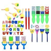 YOURPAI Kit pennelli in Spugna Kit pennelli per Pittura Kit di Strumenti per Bambini Apprendimento precoce Fai-da-Te Include pennelli in Schiuma, Set di pennelli per Motivi, ECC. Set da 56 Pezzi #2