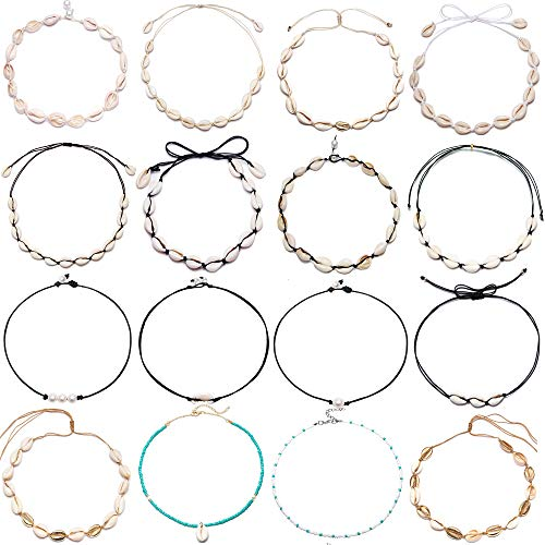 BOMAIL 16 Pieces Natural Shell Choker Necklaces for Women Girls Shell Pearl Necklace Adjustable Boho Hawaii Sea Beach Choker Set