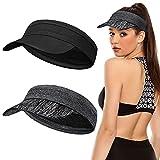 2 Pieces Women Sun Protection Visor Hat Elastic Yoga Headband Sports Hat Empty Top Baseball Cap Lightweight Beach Sun Visor Hat