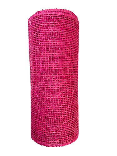 10' Wide Woven Deco Burlap Mesh Hot Pink, Fuchsia Valentine's Day Great for Outdoor Decorating Projects/Wreaths