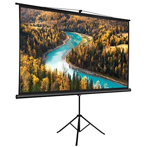 Yaheetech Portable Indoor Outdoor 100 Inch 16:9 Projector Screen Tripod Stand Diagonal Projection 3D HD for Home Theater