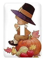 Vintage Pilgrim Boy on Pumpkin Single Toggle Switch