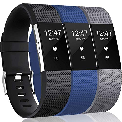 Wepro Bands Replacement Compatible with Fitbit Charge 2 for Women Men Large, 3 Pack Sports Watch Band Strap Wristband Compatible with Fitbit Charge2 HR Fitness Tracker, Black/Sea Blue/Gray