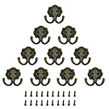 FOGAWA 10 pcs Ganchos Percheros de Pared de Estilo Vintage Doble Gancho Antiguos para Llaves de Muro Ganchos Retro para Puerta Colgar Objetos Pequeña y Decoraciones de Navidad con 20 Tornillos