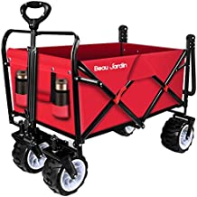 BEAU JARDIN Folding Push Pull Wagon Collapsible Cart 300 Pound Capacity Utility Camping..