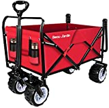 BEAU JARDIN Folding Push Pull Wagon Collapsible Cart 300 Pound Capacity Utility Camping Grocery Canvas Sturdy Portable Buggies Outdoor Garden Sport Heavy Duty Shopping Beach Wide All Terrain Wheel Red