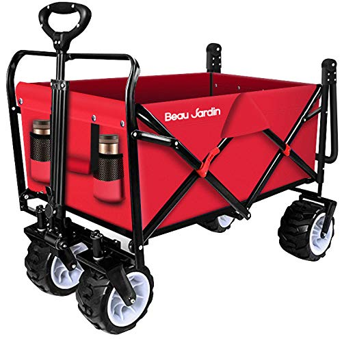BEAU JARDIN Folding Push Pull Wagon Collapsible Cart 300 Pound Capacity Utility Camping Grocery...