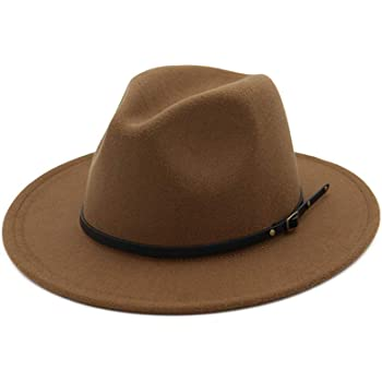 XGao Wide Brim Hat Women Womens Wool Felt Outback Hat Panama Hat Wide Brim Women Belt Buckle Fedora Hat B Winter Hats with Brim for Women