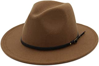 HUDANHUWEI Women's Classic Wide Brim Fedora Hat with Belt Buckle Felt Panama Hat