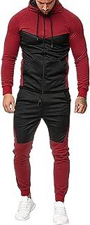 XUANOU Mens Autumn Splicing Zipper Print Sweatshirt Top Pants Sets Sport Suit Tracksuit