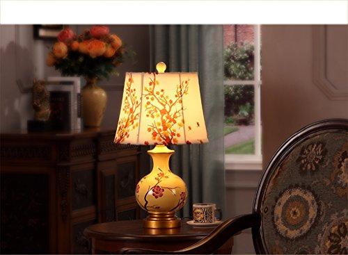 Kjvfk Flexo Flexo Escritorio Retro Lampara de Mesa Chino del Dormitorio Lampara de cabecera Europea de la Lampara de cerámica Arce Rojo Amarillo lamparas