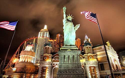 Puzzel Voor Volwassenen 1000 Stukjes, Vrijheidsbeeld In Las Vegas, Nacht Uitzicht Op De Stad,Puzzel Spelletjes Woondecoratie Cadeaus