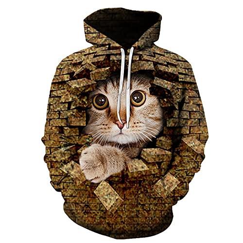 WXDSNH Cute Cat Animal Series Sudaderas con Capucha con Estampado 3D Hombres Otoño Divertido Patrón De Mascotas Sudaderas Mujeres Deportes Jersey De Manga Larga