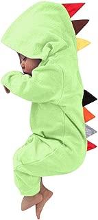 LONGDAY Newborn Baby Boys Girls Long Sleeve Dinosaur Zipper Hooded Romper Jumpsuit Outfits